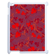 Red Floral Pattern Apple Ipad 2 Case (white) by Valentinaart
