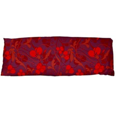 Red Floral Pattern Body Pillow Case Dakimakura (two Sides) by Valentinaart