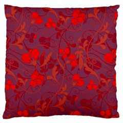 Red Floral Pattern Large Cushion Case (two Sides) by Valentinaart