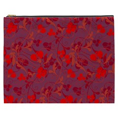 Red Floral Pattern Cosmetic Bag (xxxl)  by Valentinaart