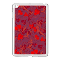 Red Floral Pattern Apple Ipad Mini Case (white) by Valentinaart
