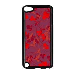 Red Floral Pattern Apple Ipod Touch 5 Case (black) by Valentinaart