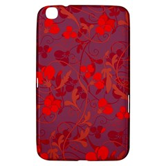Red Floral Pattern Samsung Galaxy Tab 3 (8 ) T3100 Hardshell Case  by Valentinaart