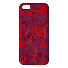 Red Floral Pattern Iphone 5s/ Se Premium Hardshell Case by Valentinaart