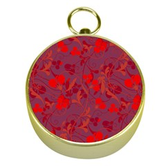 Red Floral Pattern Gold Compasses by Valentinaart