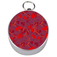Red Floral Pattern Silver Compasses by Valentinaart