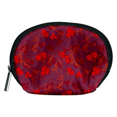 Red floral pattern Accessory Pouches (Medium)