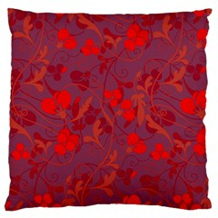 Red Floral Pattern Large Flano Cushion Case (one Side) by Valentinaart