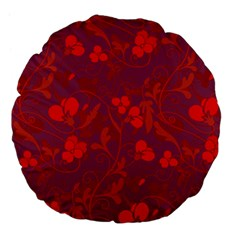 Red Floral Pattern Large 18  Premium Flano Round Cushions by Valentinaart