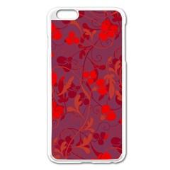 Red Floral Pattern Apple Iphone 6 Plus/6s Plus Enamel White Case by Valentinaart