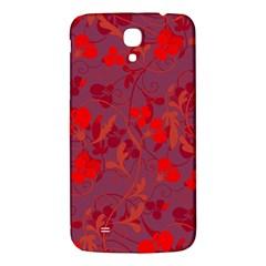 Red Floral Pattern Samsung Galaxy Mega I9200 Hardshell Back Case by Valentinaart