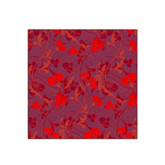 Red Floral Pattern Satin Bandana Scarf by Valentinaart