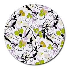 Floral Pattern Round Mousepads by Valentinaart