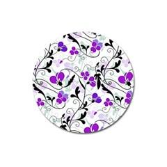 Floral Pattern Magnet 3  (round) by Valentinaart