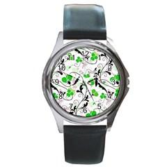Floral Pattern Round Metal Watch by Valentinaart
