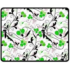 Floral Pattern Double Sided Fleece Blanket (medium)  by Valentinaart