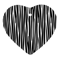 Zebra Pattern Heart Ornament (two Sides) by Valentinaart