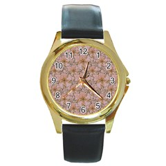 Nature Collage Print Round Gold Metal Watch by dflcprints