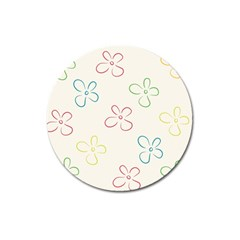 Flower Background Nature Floral Magnet 3  (round) by Simbadda