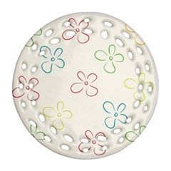 Flower Background Nature Floral Ornament (round Filigree) by Simbadda