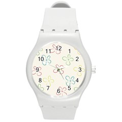 Flower Background Nature Floral Round Plastic Sport Watch (m) by Simbadda