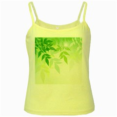 Spring Leaves Nature Light Yellow Spaghetti Tank by Simbadda