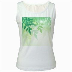 Spring Leaves Nature Light Women s White Tank Top by Simbadda