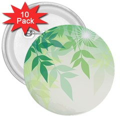 Spring Leaves Nature Light 3  Buttons (10 Pack)  by Simbadda