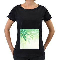 Spring Leaves Nature Light Women s Loose-Fit T-Shirt (Black) by Simbadda