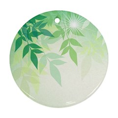 Spring Leaves Nature Light Round Ornament (two Sides) by Simbadda