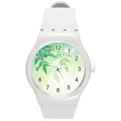 Spring Leaves Nature Light Round Plastic Sport Watch (m) by Simbadda
