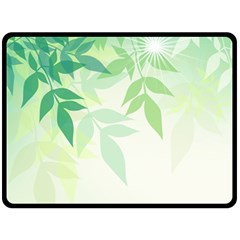 Spring Leaves Nature Light Double Sided Fleece Blanket (large)  by Simbadda