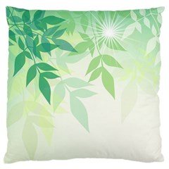 Spring Leaves Nature Light Large Flano Cushion Case (one Side) by Simbadda