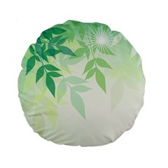 Spring Leaves Nature Light Standard 15  Premium Flano Round Cushions by Simbadda