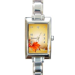 Background Leaves Dry Leaf Nature Rectangle Italian Charm Watch by Simbadda