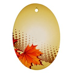 Background Leaves Dry Leaf Nature Ornament (oval) by Simbadda