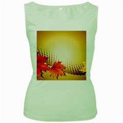 Background Leaves Dry Leaf Nature Women s Green Tank Top by Simbadda