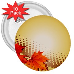 Background Leaves Dry Leaf Nature 3  Buttons (10 Pack)  by Simbadda