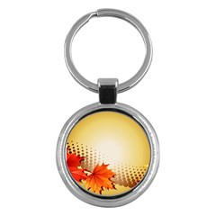 Background Leaves Dry Leaf Nature Key Chains (round)  by Simbadda