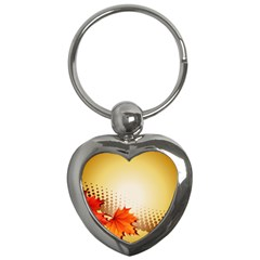 Background Leaves Dry Leaf Nature Key Chains (heart)  by Simbadda
