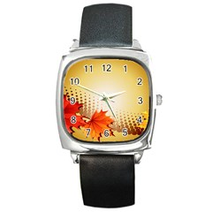 Background Leaves Dry Leaf Nature Square Metal Watch by Simbadda
