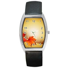Background Leaves Dry Leaf Nature Barrel Style Metal Watch