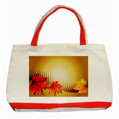 Background Leaves Dry Leaf Nature Classic Tote Bag (red) by Simbadda