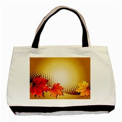 Background Leaves Dry Leaf Nature Basic Tote Bag (two Sides) by Simbadda