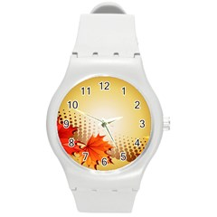 Background Leaves Dry Leaf Nature Round Plastic Sport Watch (m) by Simbadda