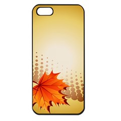 Background Leaves Dry Leaf Nature Apple Iphone 5 Seamless Case (black) by Simbadda