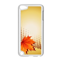 Background Leaves Dry Leaf Nature Apple Ipod Touch 5 Case (white) by Simbadda