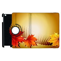 Background Leaves Dry Leaf Nature Apple Ipad 2 Flip 360 Case by Simbadda
