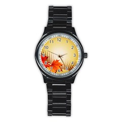 Background Leaves Dry Leaf Nature Stainless Steel Round Watch by Simbadda