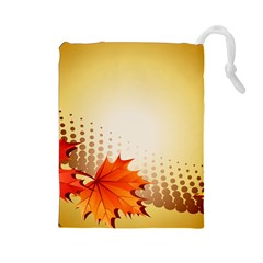Background Leaves Dry Leaf Nature Drawstring Pouches (large)  by Simbadda